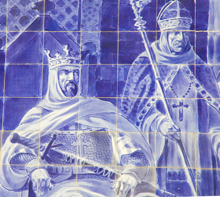Azulejo panel in the Sao Bento Railway Station in Porto, Portugal, depicting King Alfonso VII of Leon