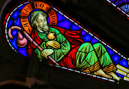 Stained glass window depicting Saint James or Jacob the Greater in the church of Viana do Castelo, Portugal.