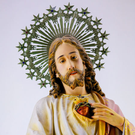 Statue of Jesus and the Sacred Heart in the Sanctuary of the Rock (Santuario da Penha) in Guimaraes, Portugal.