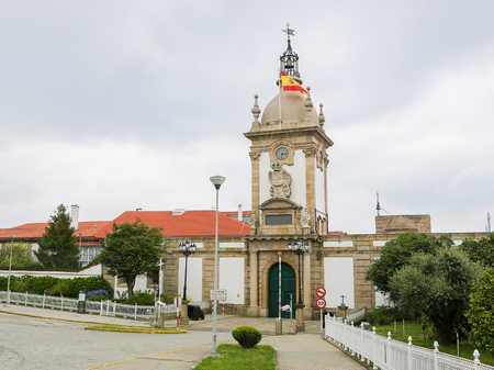 Entrance to the military dockyard of Ferrol, Galicia, Spain. Ferrol has been a major naval shipbuilding center for most of its history. Standard-Bild - 111811278