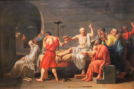 The Death of Socrates (French: La Mort de Socrate) is an oil on canvas painted by French painter Jacques-Louis David in 1787. Stok Fotoğraf - 111811285