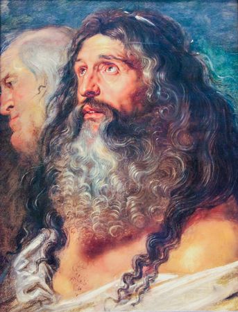 Study of Two Heads by Peter Paul Rubens, painting created in the 17th century and in the public domain. Standard-Bild - 111811286