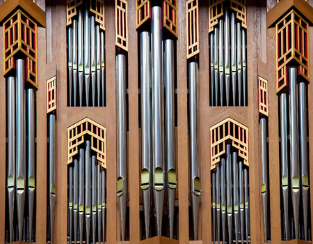Organ pipes of the great organ in the Cathedral of Brussels, Belgium Editöryel
