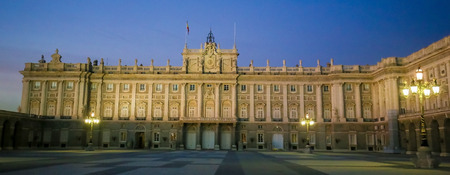 View from the Plaza de la Armeria on the Royal Palace of Madrid (Palacio Real de Madrid) in the city of Madrid, Spain. Standard-Bild - 111812693