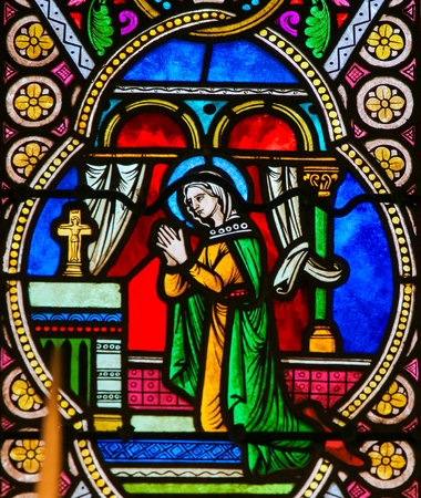 Stained Glass in the Cathedral of Monaco, depicting Mother Mary in Prayer