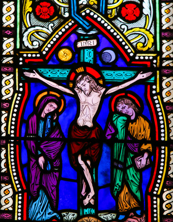 Stained Glass in the Cathedral of Monaco, depicting Jesus on the Cross