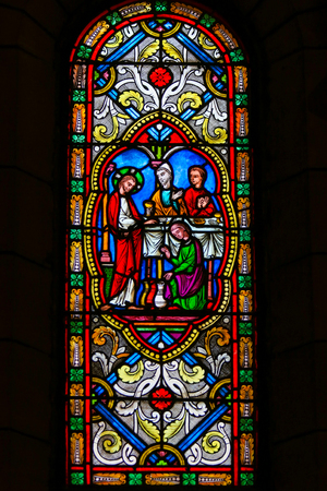 Stained Glass in the Cathedral of Monaco, depicting the transformation of water into wine at the Marriage at Cana, Jesus first miracle in the Gospel of John