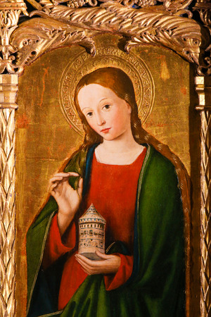 Painting of Mary Magdalene on the Altarpiece of St Nicolas (1500) in the Cathedral of Monaco Stock Photo