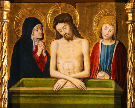 Painting of Jesus, Mother Mary and Saint John on Good Friday, on the Altarpiece of St Nicolas (1500) in the Cathedral of Monaco