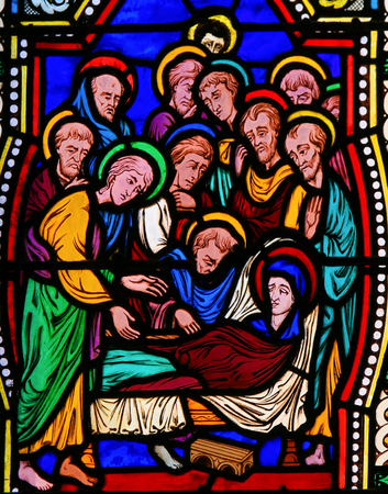 Stained Glass in the Cathedral of Monaco depicting the Death of Mother Mary