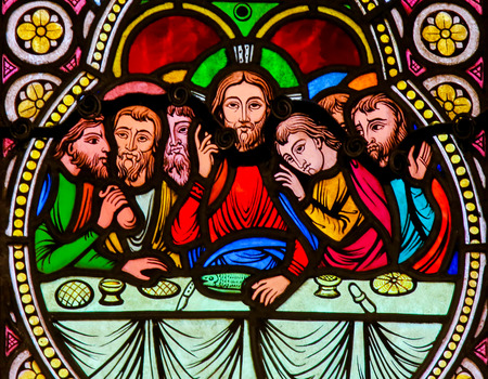 Stained Glass in the Cathedral of Monaco, depicting Jesus and the Apostles at the Last Supper on Maundy Thursday