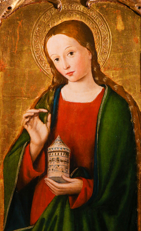 Painting of Mary Magdalene on the Altarpiece of St Nicolas (1500) in the Cathedral of Monaco
