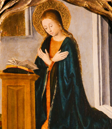 Mother Mary in Prayer, on the Altarpiece of St Nicolas (1500) in the Cathedral of Monaco Stock Photo