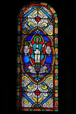 Stained Glass in the Cathedral of Monaco, depicting The Assumption of Mary into Heaven