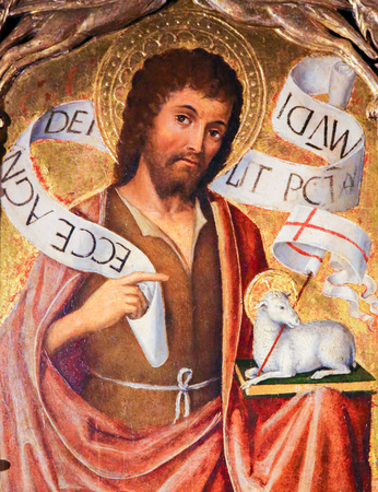 Painting of Saint John the Baptist and the Agnus Dei on the Altarpiece of St Nicolas (1500) in the Cathedral of Monaco