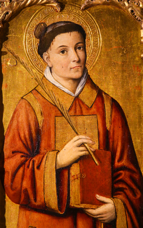 Painting of Saint Stephen, the protomartyr or first martyr of Christianity, on the Altarpiece of St Nicolas (1500) in the Cathedral of Monaco