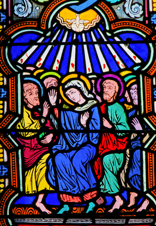 Stained Glass in the Cathedral of Monaco depicting Mary and the Apostles at Pentecost