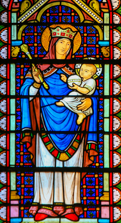 Stained Glass in the Cathedral of Monaco, depicting Madonna and Child