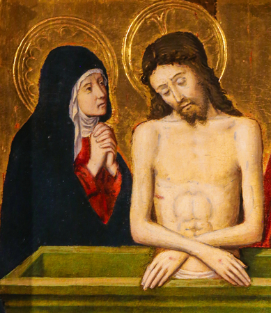Painting of Jesus and Mother Mary on Good Friday, on the Altarpiece of St Nicolas (1500) in the Cathedral of Monaco 写真素材