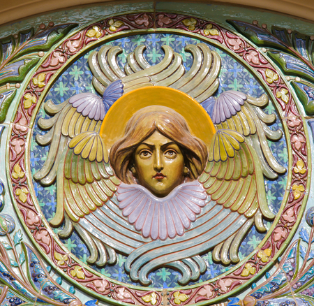 Sculpture of an Angel at the Russian Orthodox Cathedral of Nice, France, the largest Eastern Orthodox Cathedral in Western Europe.