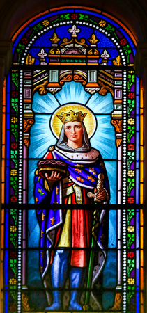 Stained Glass in the Church of Antibes, France, depicting Louis IX (13th Century), commonly known as Saint Louis, King of France and Catholic Saint.