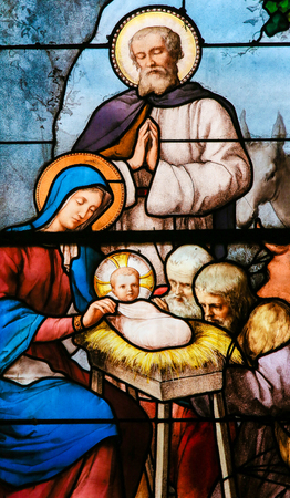 Stained Glass in the Church of Saint Severin, Latin Quarter, Paris, France, depicting a Nativity Scene at Christmas