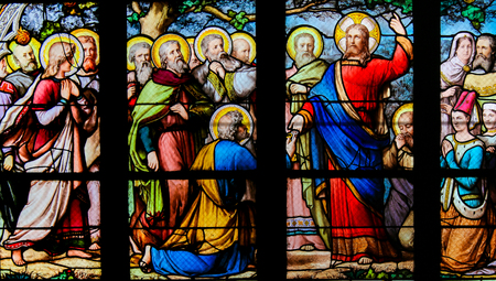 Stained Glass in the Church of Saint Severin, Latin Quarter, Paris, France, depicting Jesus handing over the Keys to the Kingdom of Heaven to Saint Peter
