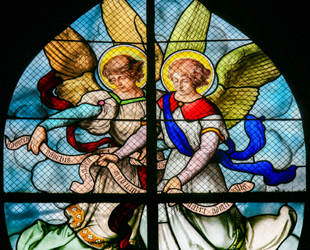 Stained Glass in the Church of Saint Severin, Latin Quarter, Paris, France, depicting Angels