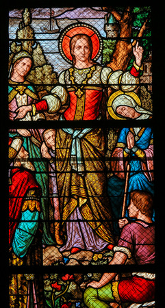 Stained Glass in the Church of Saint Severin, Latin Quarter, Paris, France, depicting Mary Magdalene Banque d'images