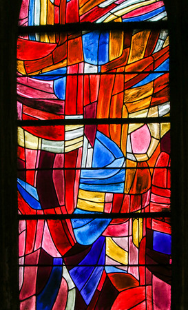 Abstract Stained Glass in the Church of Saint Severin, Latin Quarter, Paris, France. Éditoriale