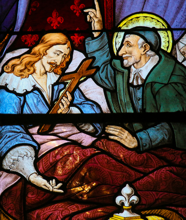 Stained Glass in the Church of Saint Severin, Latin Quarter, Paris, France, depicting Saint Vincent de Paul at the Deathbed of King Louis XIII of France