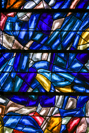 Abstract Stained Glass in the Church of Saint Severin, Latin Quarter, Paris, France.