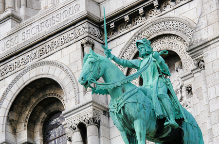 Equestrian Statue of Joan of Arc or Jeanne d'Arc at the Basilica Sacre Coeur in Montmartre, Paris, France
