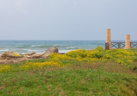 Ruins of the ancient Roman city Caesarea at the Mediterranean Coast in Israel