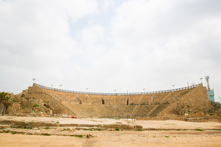 Theatre of the ancient Roman city Caesarea Maritima at the Mediterranean Coast in Israel Imagens - 122572114