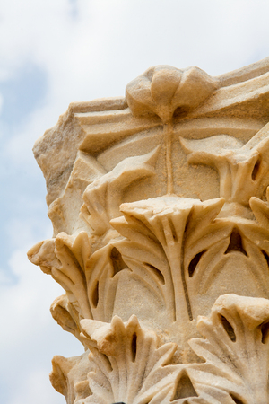 Corinthian order in the ancient Roman city Caesarea at the Mediterranean Coast in Israel