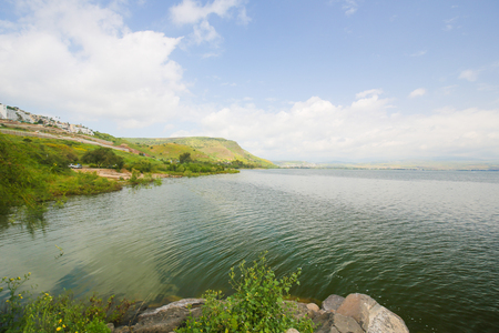Sea of Galilee in Tiberias, Israel. It is the lowest freshwater lake on Earth