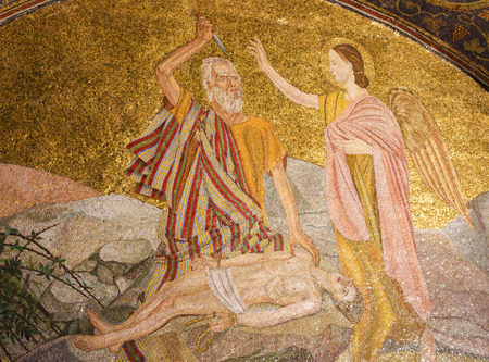 Mosaic in the Church of the Holy Sepulchre in Jerusalem, Israel, depicting Abraham and the Binding of Isaac