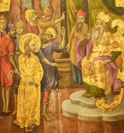 Greek Orthodox Fresco in the Church of the Holy Sepulchre in Jerusalem, depicting Jesus about to be struck in front of former High Priest Annas, as in John 18:22