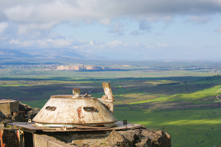 View from a bunker on the border area between Israel and Syria seen from the Golan Heights, Israel. Imagens