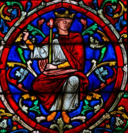 Stained Glass in the Cathedral of Notre Dame, Paris, France, depicting King Solomon as part of the Tree of Jesse, the ancestors of Jesus Christ
