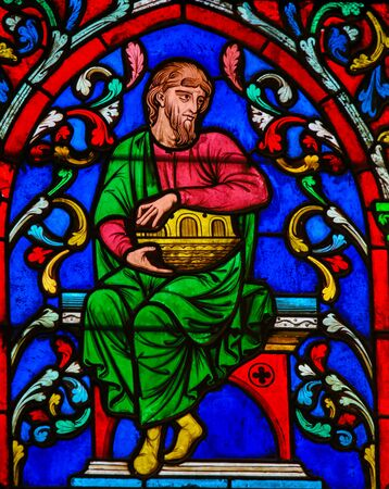 Stained Glass in the Cathedral of Notre Dame, Paris, France, depicting Noah and his Ark