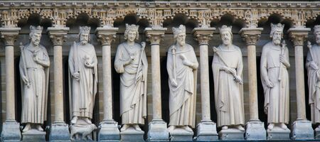 Medieval Statues of the Galerie des Rois at the Cathedral of Notre Dame, Paris, France.