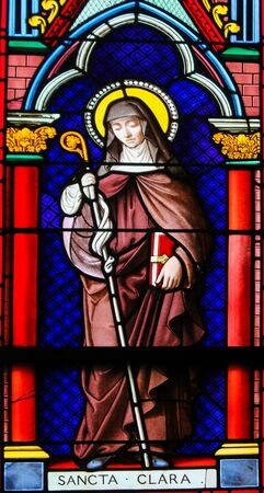 Stained Glass in the Chapel of Notre-Dame-des-flots (1857) in Sainte Adresse, Le Havre, France, depicting Saint Clare, an Italian saint and one of the first followers of Saint Francis of Assisi