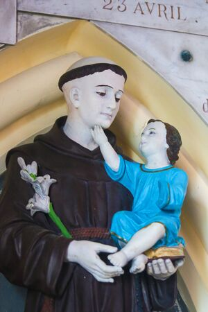 Statue of St Anthony of Padua in the Chapel of Notre-Dame-des-flots (1857) in Sainte Adresse, Le Havre, France