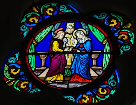 Stained Glass in the Chapel of Notre-Dame-des-flots (1857) in Sainte Adresse, Le Havre, France, depicting the Marriage of Joseph and Mary