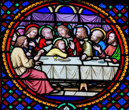 Stained Glass in the Chapel of Notre-Dame-des-flots (1857) in Sainte Adresse, Le Havre, France, depicting the Last Supper at Maundy Thursday