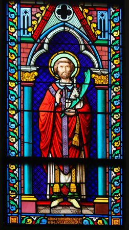 Stained Glass in the Chapel of Notre-Dame-des-flots (1857) in Sainte Adresse, Le Havre, France, depicting a Catholic Saint holding a palm branch