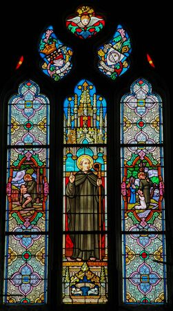 Stained Glass in the Church of St Martin in St Valery sur Somme, France, depicting Saint Valery or Saint Walaric Stockfoto - 133170012