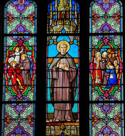 Stained Glass in the Church of St Martin in St Valery sur Somme, France, depicting Saint Bilmond, second abbot of Saint-Valery-Sur-Somme